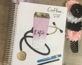 Planner cover for Erin Condren Planner, Happy Planner, Recollections Planner, Nurse, CNA, medical, stethoscope, school, student, white coat