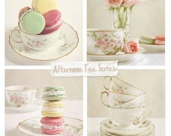 Set of Four Prints- Tea Set Photos, Set of Four Teacup Prints, Still Life Photography, Dining Cafe Kitchen Decor, Cottage Chic, Save 20%