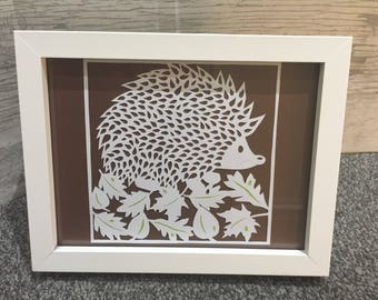 Hedgehog woodland creatures, british wildlife, hedgehog picture, handcrafted woodland scene, papercut art, nature, any occasion, small gift