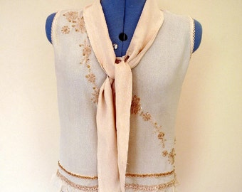 Vintage Romantic Blouse with Frilled Edging and Tie Collar- sleeveless