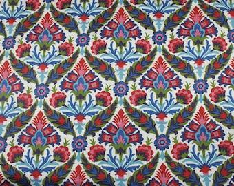 4141 - P Kaufmann Floral (White) Cotton Canvas Fabric - 55 Inch (Width) x 1/2 Yard (Length)