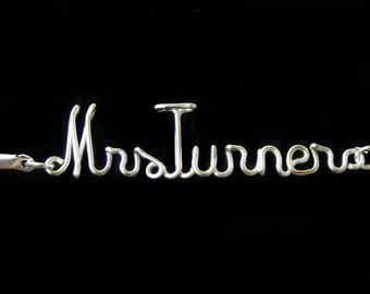 Mrs Bracelet, Personalized Bracelet, Wire Name, Wire Word, Leather Bracelet, Customizable, Wire Letter, Custom Made, Mrs.