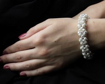 Bridal bracelet, Classic bracelet, Vintage bracelet, Beaded bracelet, Pearl bracelet, Crystal bracelet - Ivory pearl bracelet with crystals
