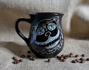 Ceramic mug Cat Stoneware mug Tea cup Cheshire cat mug Drink me Pottery mug We're all mad here Cute mugs Alice in wonderland Clay mug