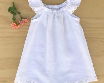 Girls dress, Girls white linen dress, Girls linen dress, Baby linen dress, White linen dress, Toddler linen dress, linen peasant dress