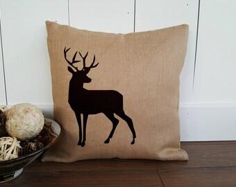Stag Pillow Cover. Deer Silhouette Canvas Pillow. Burlap Pillow. Custom Pillow. Personalized Gift. Zipper enclosure