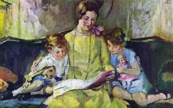Kết quả hình ảnh cho mother reading to child art