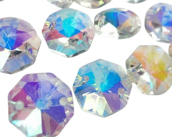 50 Iridescent AB 14mm Octagons Chandelier Crystals Beads Asfour Lead Crystal