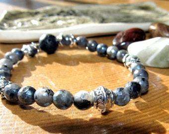 Labradorite Diffuser Bracelet, Lava Rock, Aromatherapy, Stretch Bracelet, Yoga, Meditation, Mala Bracelet