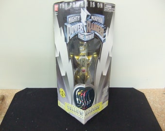 """Vintage Mighty Morphin Power Rangers Gold  Ranger Bandai 8"""" Figure Complete 1993 Movies Series in Box"""