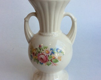 Vintage Pottery Vase, Neo Classical Style, Floral Design