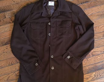 Vintage 1970's Levi's Panatela Brown Polyester Jacket Shirt Medium