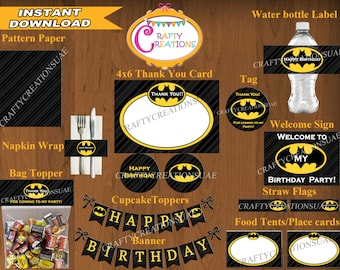 INSTANT DOWNLOAD - Printable Batman Package - Printable Batman Birthday Party Package - Batman Party Pack - Batman Decorations - CraftyUAE