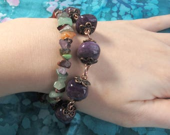 Purple Chunky Bracelet Gemstone Bracelet Stones Beaded Bracelet Womens Antiqued Copper Eggplant
