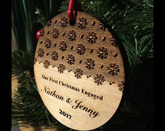 Our First Christmas Engaged Ornament - Elegant Personalized Wood Newlywed Holiday Ornament - Engagement Gift - Custom Text - SKU#72A