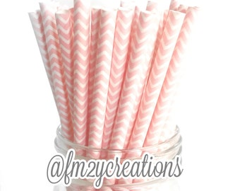 Chevron Light Pink PAPER STRAWS | Chevron Paper Straws |  Light PINK Paper Straws | Pink Gold Birthday Party | Pink and Gold Baby Shower