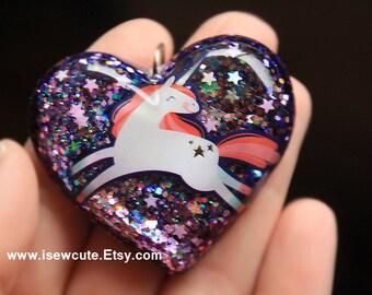 Unicorn Jewelry, Purple Heart, Dreamy Resin Pendant Necklace Silver Purple Lavender Glitter, Unicorn Believer, Magical Unicorn by isewcute