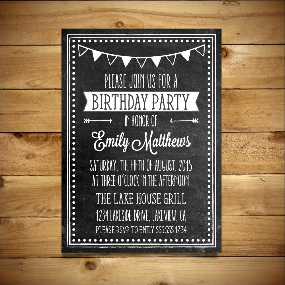 Birthday Invitation Printable Vintage Chalk Style Template