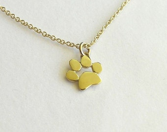 Paw Print Necklace Pendant - 14k Gold Necklace - Solid Gold Necklace - Animal Jewelry - Cat and dog Lover Gift