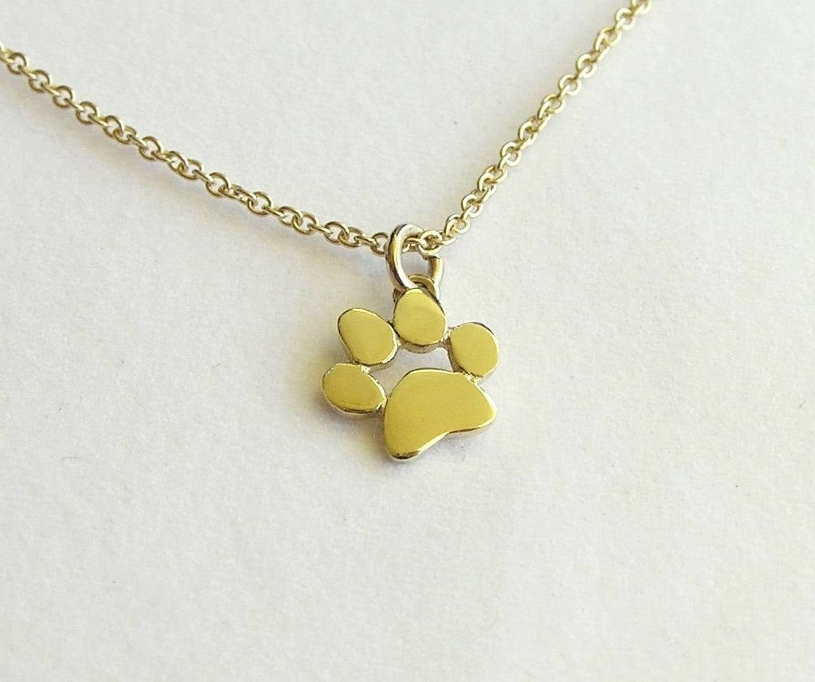 Paw print necklace pendant 14k gold necklace solid gold zoom aloadofball Image collections