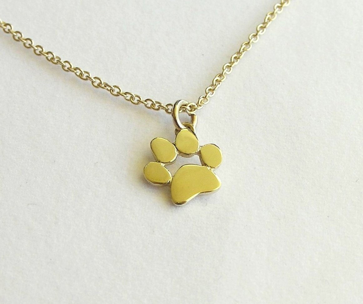 Paw print necklace pendant 14k gold necklace solid gold zoom aloadofball