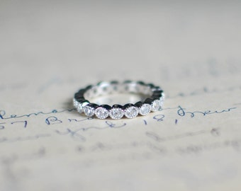 Cubic Zirconia Eternity Band - Sterling Silver Stacked Ring  - Full Eternity Ring - Wedding Band - Vintage Ring - Art Deco - Bezel Set - 3MM