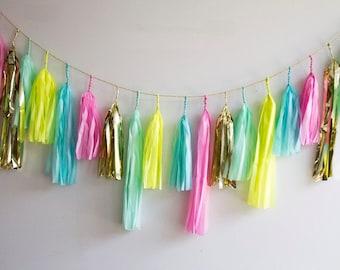 Confetti Tassel Garland, Birthday Decor,  Neon and Pastel, Party Decor, Bright Decor, Summer Garland, Kids Party, Bright Tassel Garland