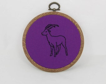 Purple Goat Embroidery Hoop Art