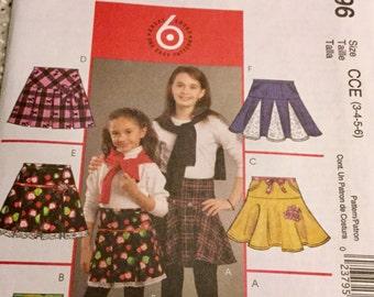 McCalls 5696 Girls Yoke Front Skirt with Pockets Pattern. size  3-6, Uncut