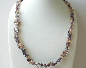 ON SALE Vintage Semi Precious Stones Amethyst Rose Quartz Clear Quartz Necklace 61018