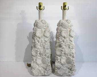 Pair Of Mid-Century Modern Plaster Seashell Lamps, In The Manner Of Sirmos.