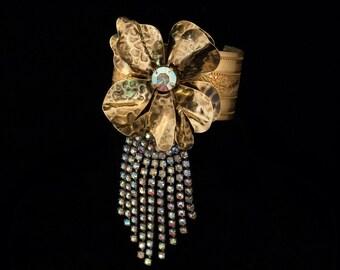 Vintage Bejeweled Cuff, Vintage Cuff, Handmade Cuff, Rhinestone Cuff, Vintage Bracelet