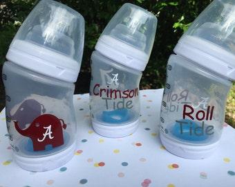 Alabama Crimson Tide Inspired Baby Bottle, Roll Tide Baby Bottle, Crimson Tide Baby Bottle, Elephant Baby Bottles, Football Bottle