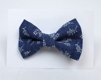 Denim Floral Print Hair Bow