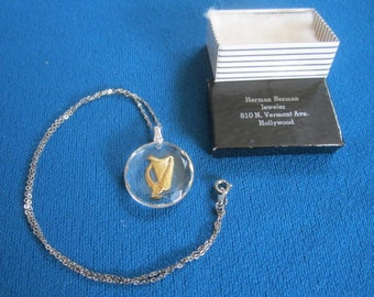Vintage 1960s Sterling Silver NOS Necklace No.7 with Lucite Harp Pendant New Old Stock