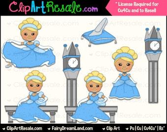 Cinderella 2 Clip Art - CU, Cu4Cu, Reseller, Digital Clipart, Instant Download - Fairy Tale, Storybook, Dress Up, Costume, Princess, Prince