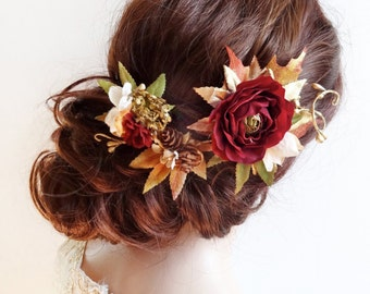 luxe fall hair accessories, fall hair clip, gold burgundy hair flower, floral hair piece, bridal headpiece, autumn wedding hair accessory