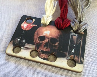 SKULL floss organizer wooden embroidery floss sorter thread keep