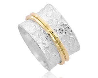 Silver Spinning Ring with 14kt Gold