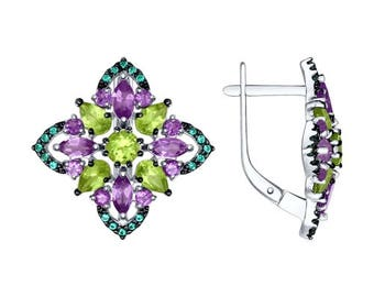925 Multi-Stone Silver Earrings with Amethyst, Cubic Zirconia and Chrysolite Russian Jewelry For Women