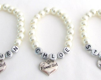 Flower Girl Name Bracelet Custom Name Flower Girl Wedding Pearl Bracelet  Ivory White Pearl Bracelet