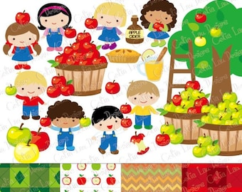 Apple picking clipart, Fall clipart, Harvest Digital Clip art , Apple Clip art, Cute Kids clipart , Autumn Elements, Apple Tree (CG180)