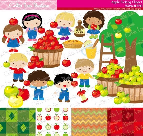 apple picking clipart fall clipart harvest digital clip art rh etsy com apple picking basket clipart Apple Pie Clip Art