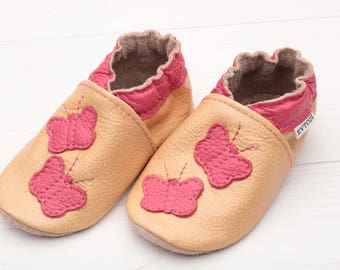 Baby shoes Leather baby shoes, Soft sole kids shoes Boys Baby moccasins leather Girls Infant baby shoes Baby booties, Beige, Pink Butterfly