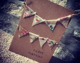 Bunting birthday card handmade