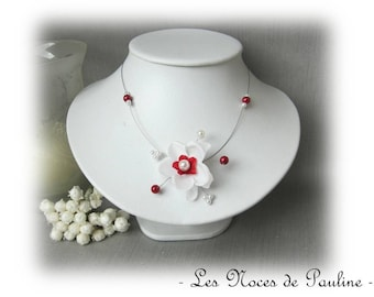Red and white wedding necklace Emilie child jewelry, bridesmaid
