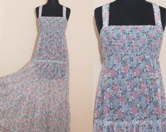 1970's sheer floral maxi dress