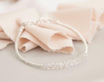 Dainty crystal quartz bracelet, April Birthstone bracelet, stacking bracelet, clear quartz