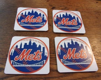 set of 4  NEW YORK METS  drink coasters.   New!    fast shipping