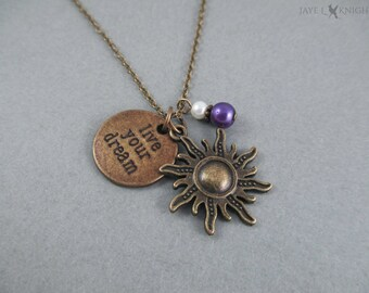 Tangled Live Your Dream Bronze Sun Charm Necklace - Rapunzel